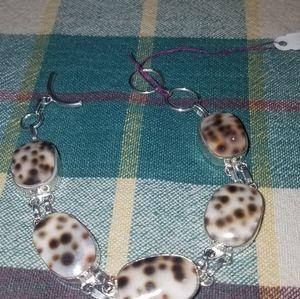 Leopard shell Sterling Silver bracelet